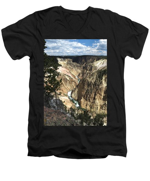 Men's V-Neck T-Shirt featuring the photograph Yellowstone Canyon by Laurel Powell