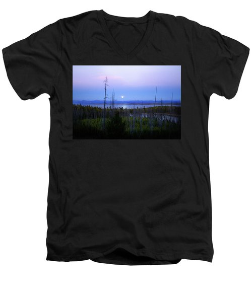 Men's V-Neck T-Shirt featuring the photograph Yellowstone Moon by Ann Lauwers