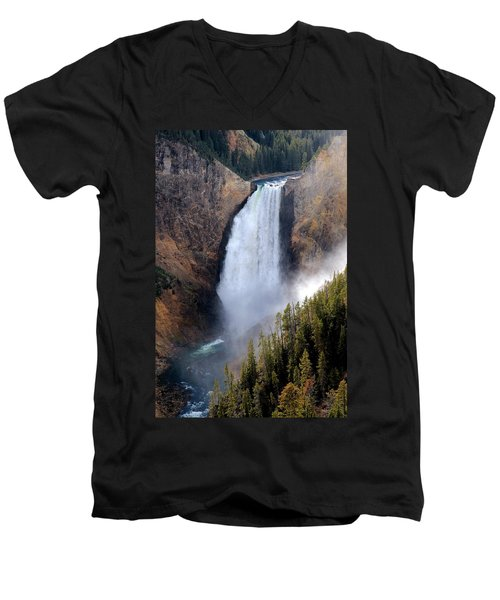 Men's V-Neck T-Shirt featuring the photograph Lower Yellowstone Falls by Athena Mckinzie