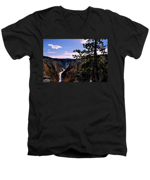 Yellowstone Waterfall Men's V-Neck T-Shirt by Matt Harang