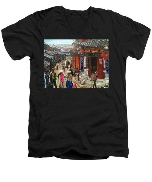 Men's V-Neck T-Shirt featuring the painting Yesterday Once More by Belinda Low