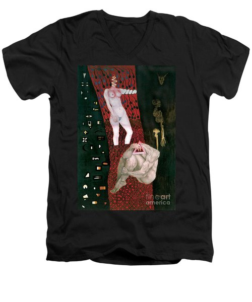 Men's V-Neck T-Shirt featuring the painting Yin Yang Birth Death by Fei A
