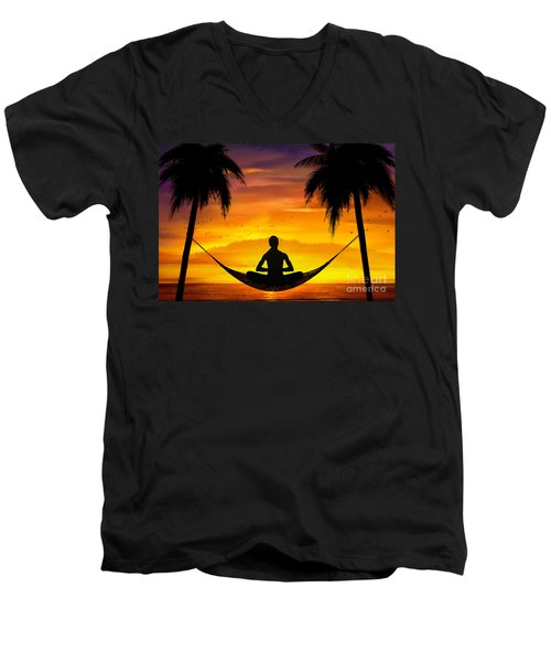 Yoga At Sunset Men's V-Neck T-Shirt