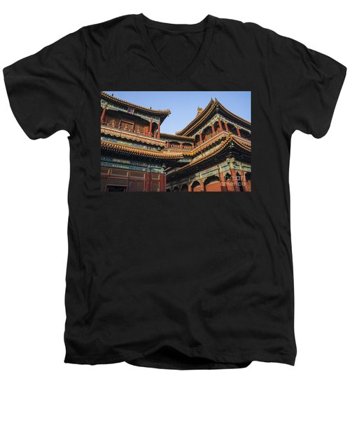 Yonghe Temple Aka Lama Temple In China Men's V-Neck T-Shirt