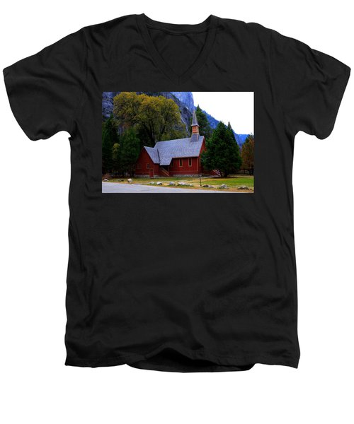 Yosemite Fall  Chapel  Men's V-Neck T-Shirt by Duncan Selby