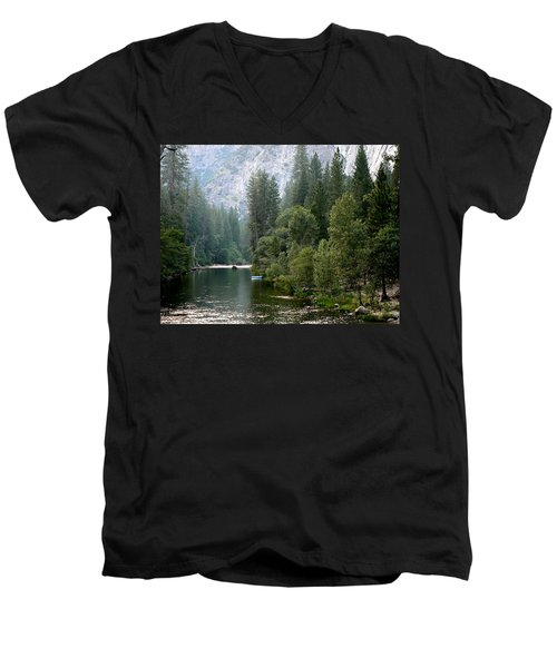 Men's V-Neck T-Shirt featuring the photograph Yosemite National Park by Laurel Powell