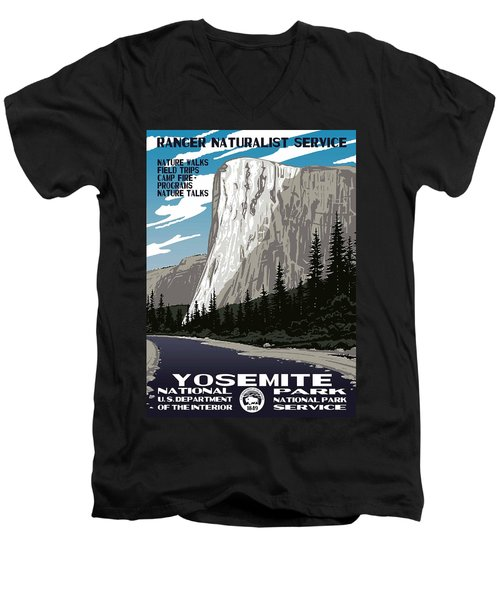 Yosemite National Park Vintage Poster 2 Men's V-Neck T-Shirt