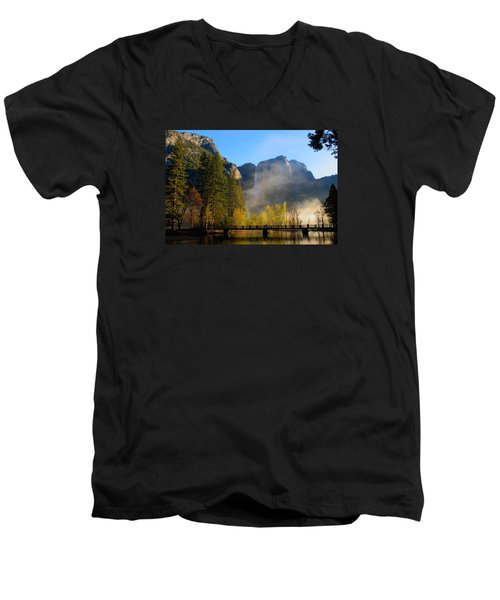 Yosemite River Mist Men's V-Neck T-Shirt by Duncan Selby