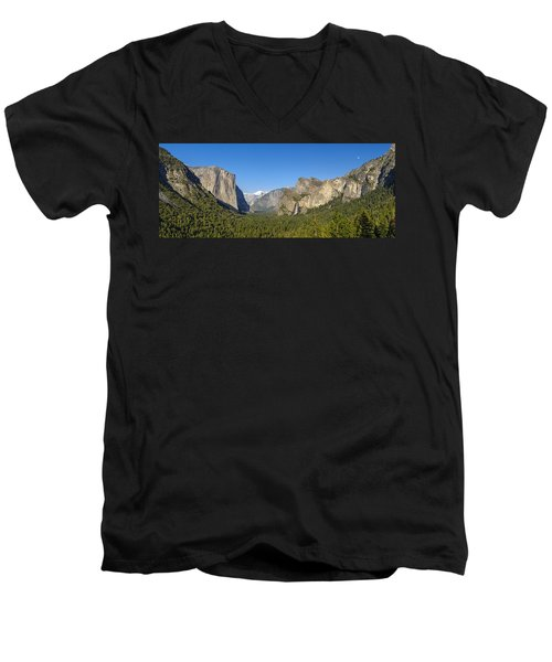 Men's V-Neck T-Shirt featuring the photograph Yosemite Valley Moonrise by Steven Sparks