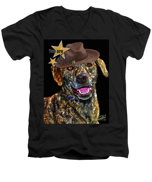 Men's V-Neck T-Shirt featuring the digital art You Are A Star by Kathy Tarochione