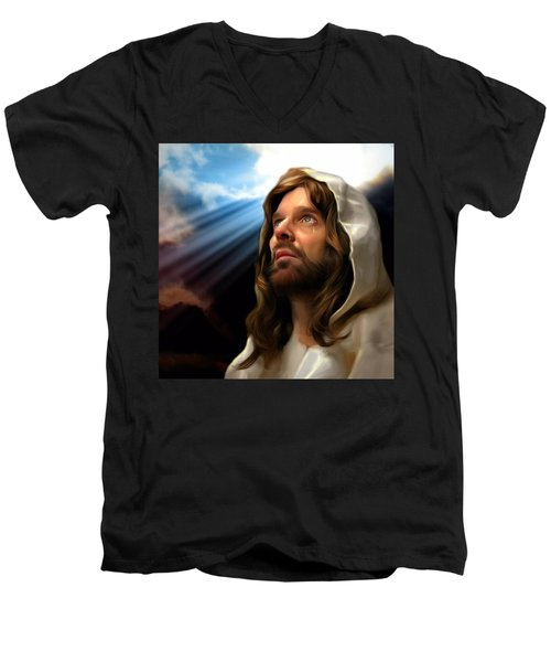 Men's V-Neck T-Shirt featuring the painting You Are Loved by Karen Showell