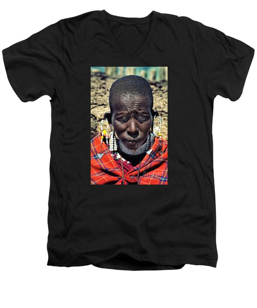 Men's V-Neck T-Shirt featuring the photograph Portrait Of Young Maasai Woman At Ngorongoro Conservation Tanzania by Amyn Nasser