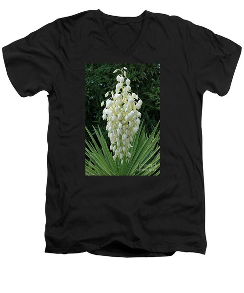 Yucca Blossoms Men's V-Neck T-Shirt by Christiane Schulze Art And Photography