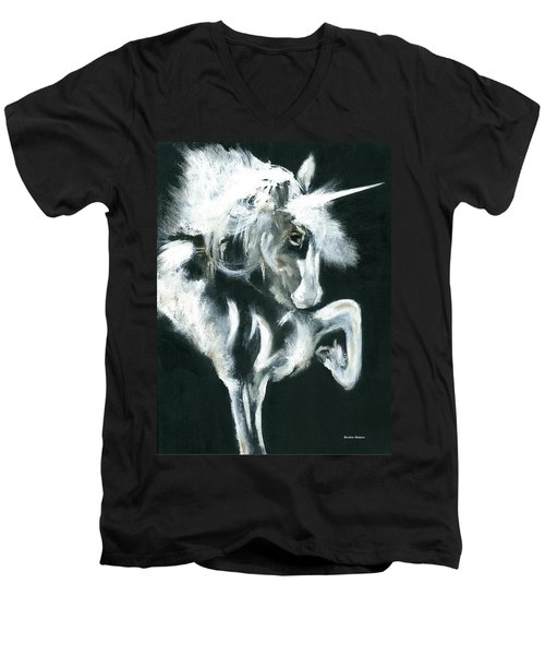 Men's V-Neck T-Shirt featuring the painting Unicorn by Barbie Batson