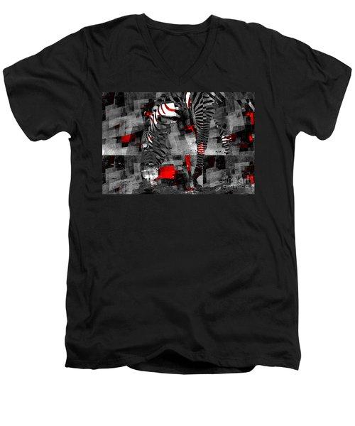 Zebra Art - 56a Men's V-Neck T-Shirt