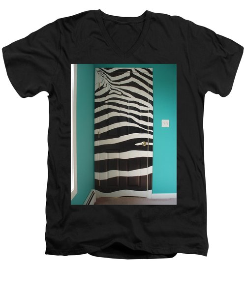 Zebra Stripe Mural - Door Number 2 Men's V-Neck T-Shirt by Sean Connolly
