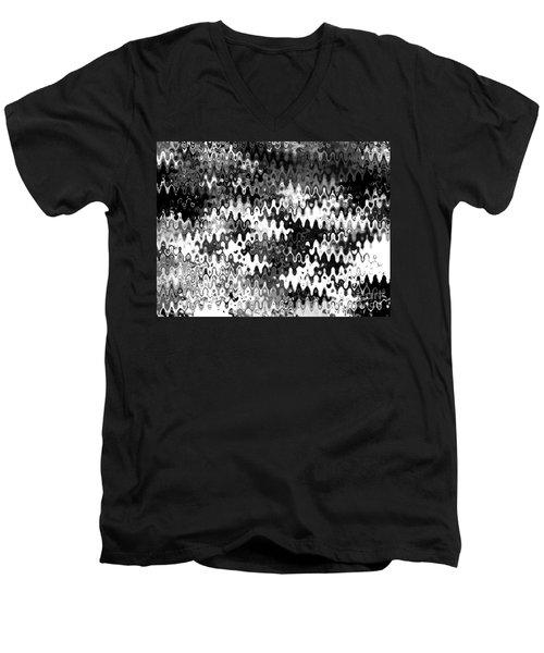Men's V-Neck T-Shirt featuring the digital art Zebras by Anita Lewis