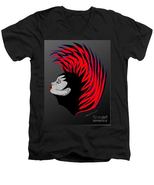 Men's V-Neck T-Shirt featuring the drawing Zee Fire by Marianne NANA Betts