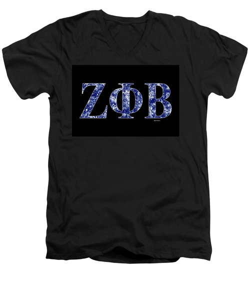 Men's V-Neck T-Shirt featuring the digital art Zeta Phi Beta - Black by Stephen Younts