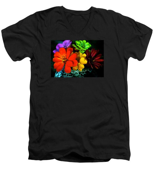 Men's V-Neck T-Shirt featuring the photograph Zinnias by Lehua Pekelo-Stearns
