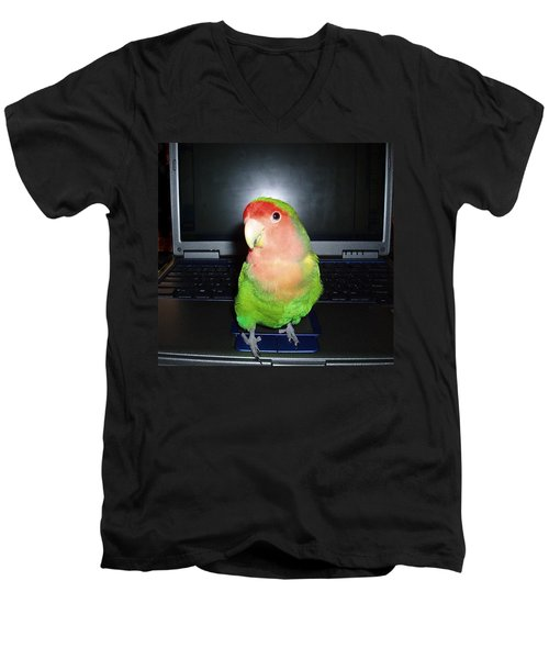 Men's V-Neck T-Shirt featuring the photograph Zippy The Lovebird by Joan Reese