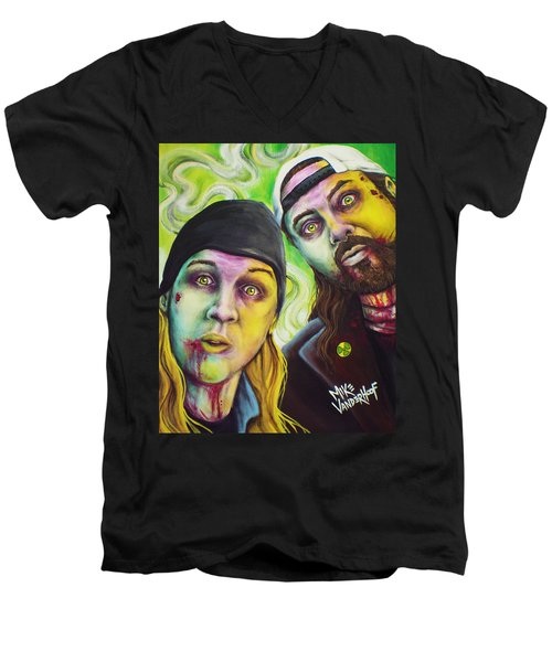Zombie Jay And Silent Bob Men's V-Neck T-Shirt by Mike Vanderhoof