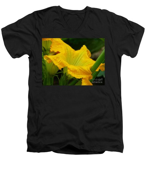 Men's V-Neck T-Shirt featuring the photograph Zucchini Yellow by Lew Davis