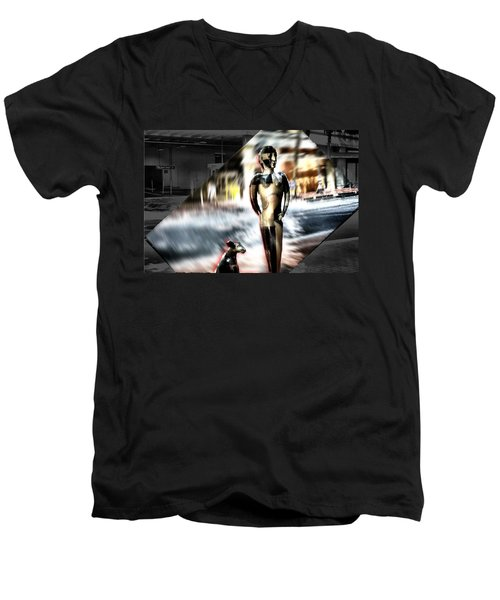 Men's V-Neck T-Shirt featuring the mixed media  Critics by Terence Morrissey
