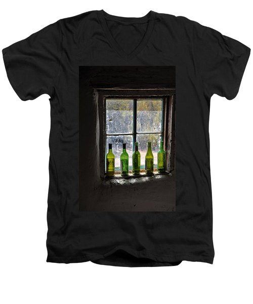 Green Bottles In Window Men's V-Neck T-Shirt