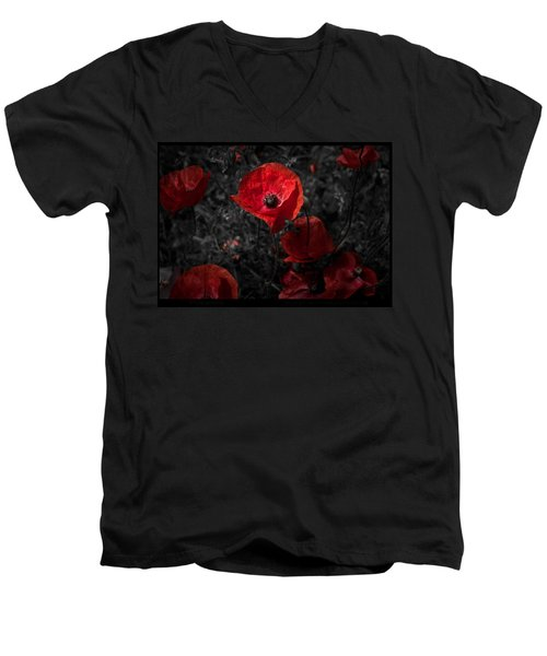 Men's V-Neck T-Shirt featuring the photograph  Poppy Red by Beverly Cash