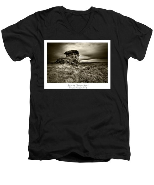 Men's V-Neck T-Shirt featuring the photograph  Stone Guardian by Beverly Cash