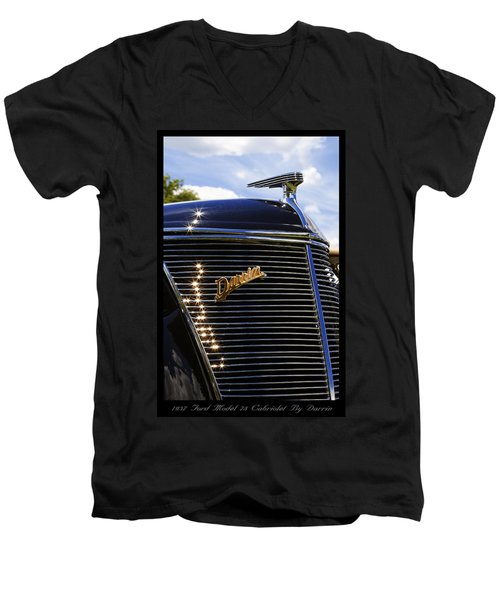Men's V-Neck T-Shirt featuring the photograph 1937 Ford Model 78 Cabriolet Convertible By Darrin by Gordon Dean II