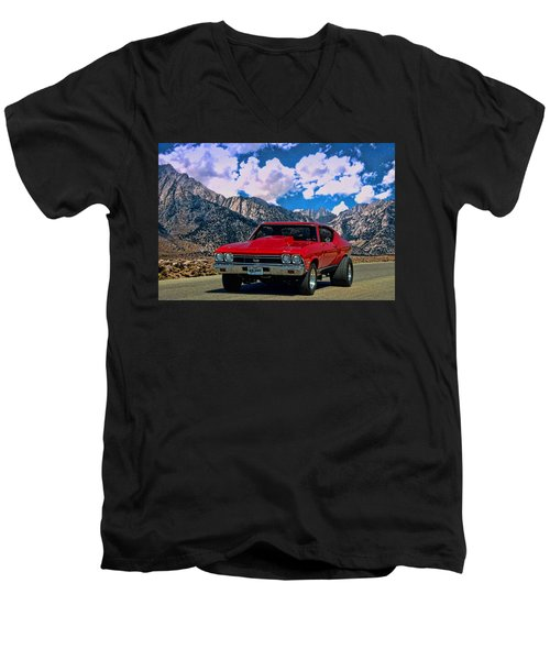 Men's V-Neck T-Shirt featuring the photograph 1968 Chevelle Super Sport by Tim McCullough