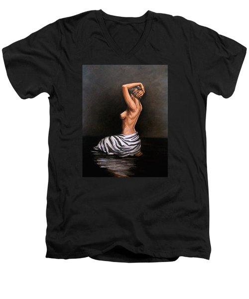 Back Nude Men's V-Neck T-Shirt