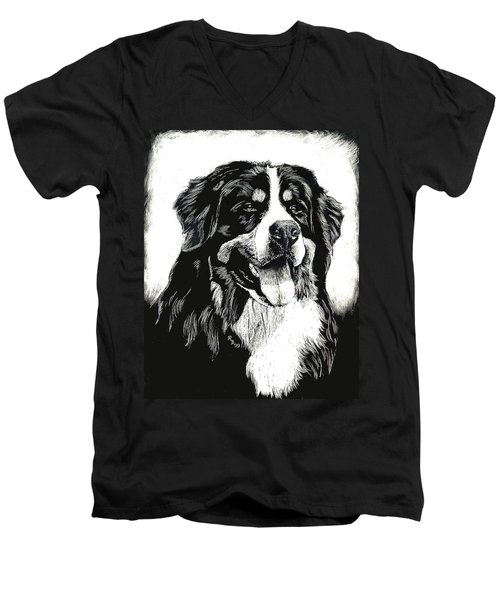 Men's V-Neck T-Shirt featuring the drawing Bernese Mountain Dog by Rachel Hames
