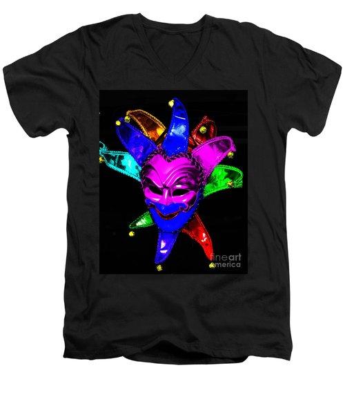 Men's V-Neck T-Shirt featuring the digital art Carnival Mask by Blair Stuart