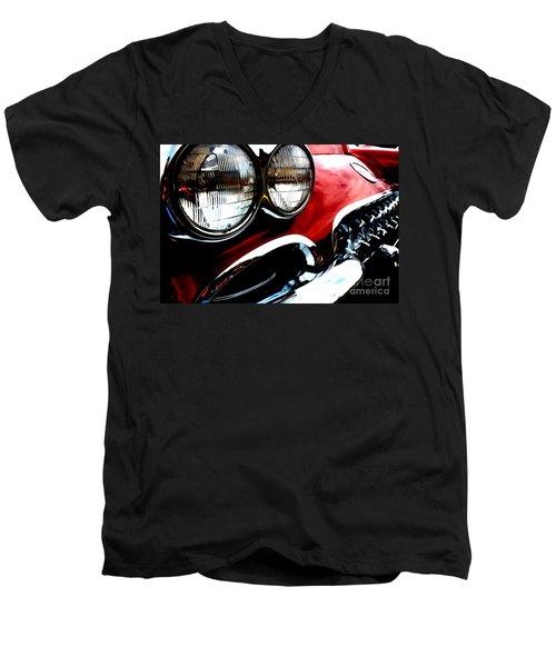 Men's V-Neck T-Shirt featuring the digital art Classic Vette by Tony Cooper