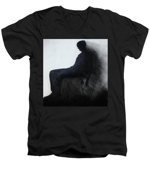 Men's V-Neck T-Shirt featuring the drawing Coming Apart 2 by Michael Cross