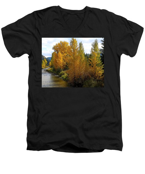 Men's V-Neck T-Shirt featuring the photograph Fall Colors by Steve McKinzie