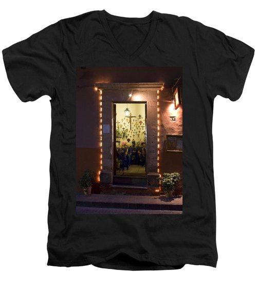 Las Cruces Men's V-Neck T-Shirt by Lynn Palmer