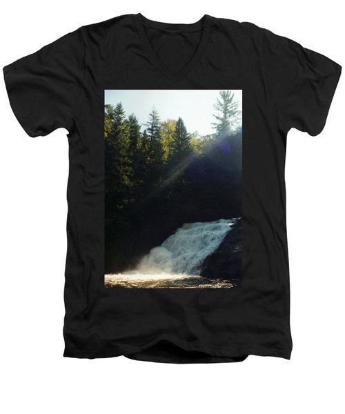 Men's V-Neck T-Shirt featuring the photograph Morning Waterfall by Stacy C Bottoms
