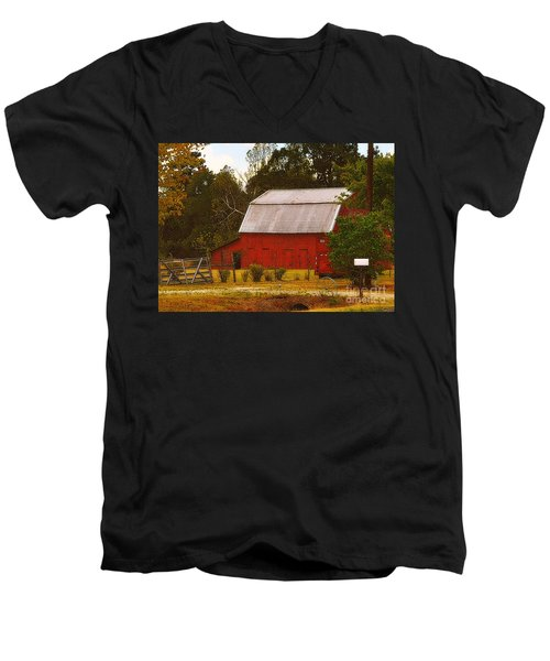 Men's V-Neck T-Shirt featuring the photograph Ozark Red Barn by Lydia Holly