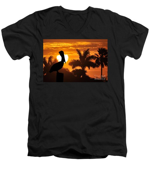 Men's V-Neck T-Shirt featuring the photograph Pelican At Sunset by Dan Friend