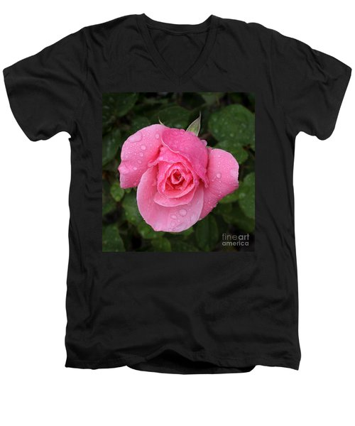 Pink Rose Macro Shot With Rain Drops Men's V-Neck T-Shirt