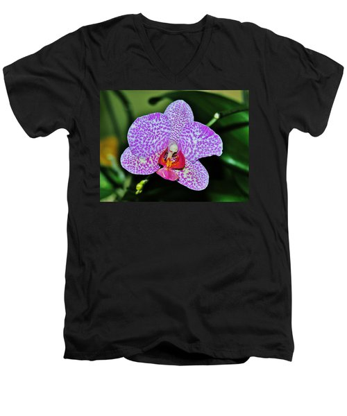 Men's V-Neck T-Shirt featuring the photograph Purple Orchid by Sherman Perry