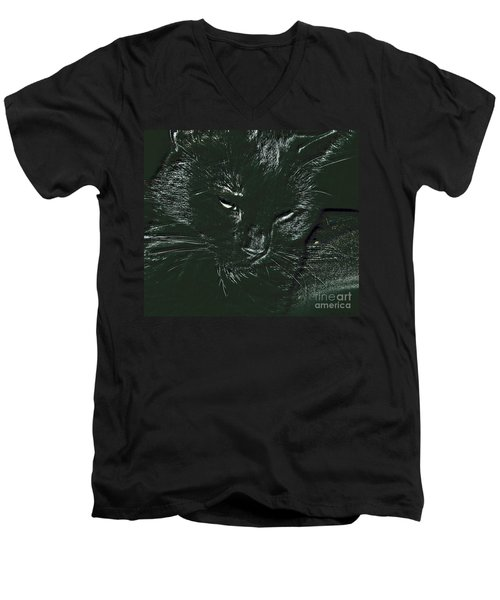 Men's V-Neck T-Shirt featuring the photograph Satin by Donna Brown