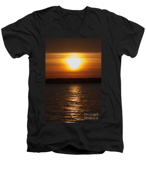 Men's V-Neck T-Shirt featuring the photograph Sunrise On Seneca Lake by William Norton