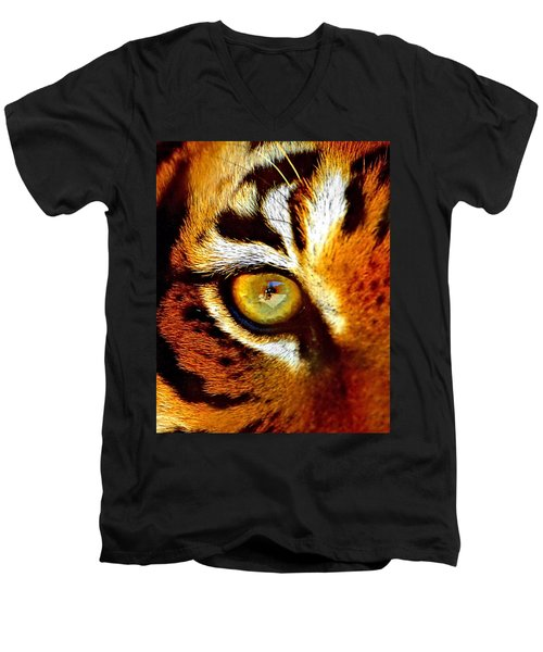 Tigers Eye Men's V-Neck T-Shirt by Marlo Horne