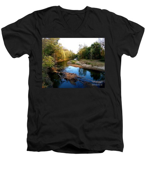 Twisted Creek Men's V-Neck T-Shirt by Sue Stefanowicz