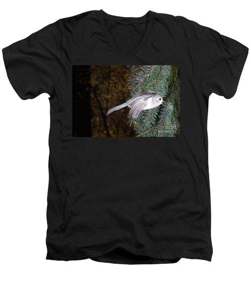 Tufted Titmouse In Flight Men's V-Neck T-Shirt by Ted Kinsman
